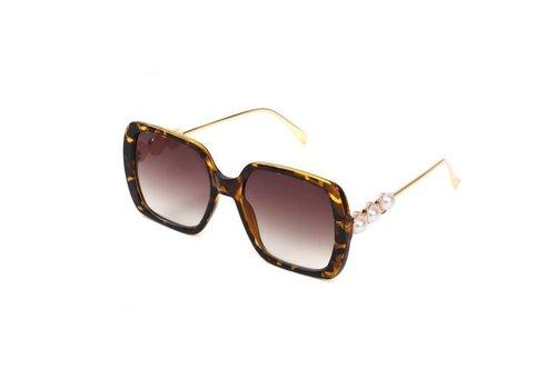 Peach Accessories 1926 Brown Marble Pearl Sunglasses