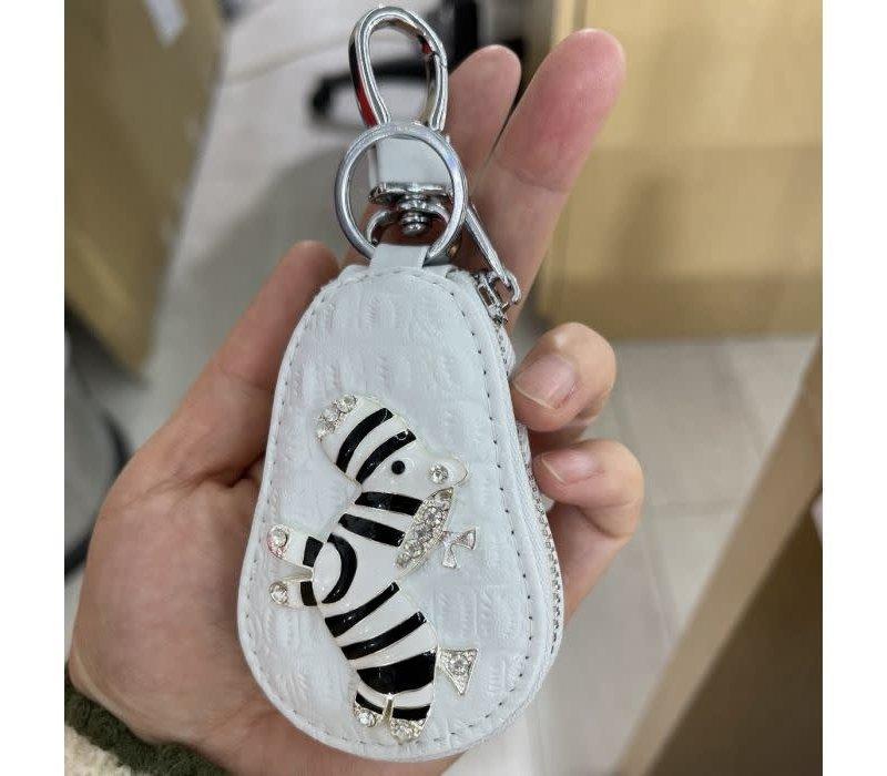 3041 Zebra Keychain Purse White