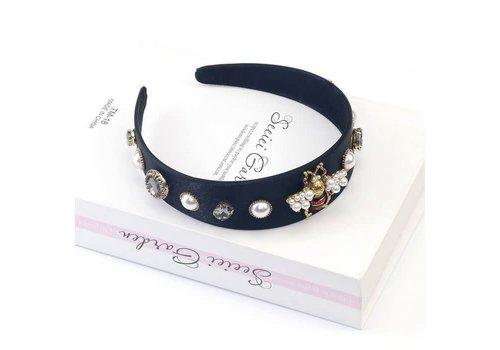 Peach Accessories HA711 Crystal delicate Bee Hairband Black