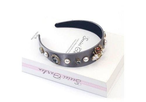 Peach Accessories HA711 Crystal delicate Bee Hairband Grey