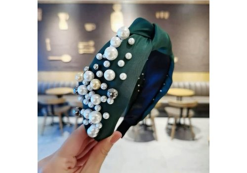 Peach Accessories HACH605 Green Hairband with Pearl detail