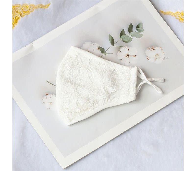 0003 Cream Cotton Lace Mask