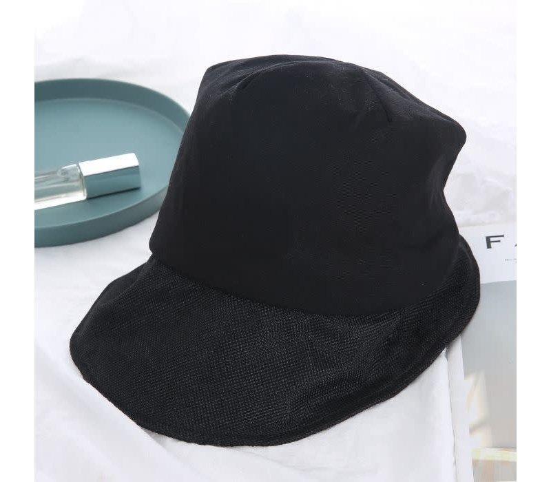 RAI005 Black Linen mix Sun Hat