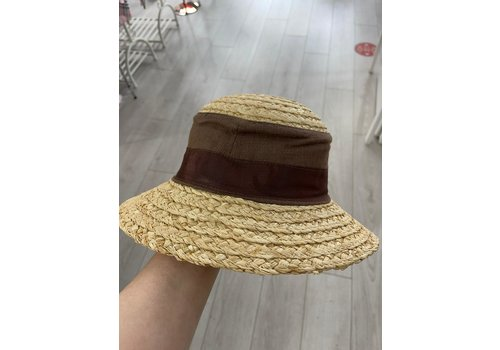 Peach Accessories 001 Straw Sun Hat with Linen inset