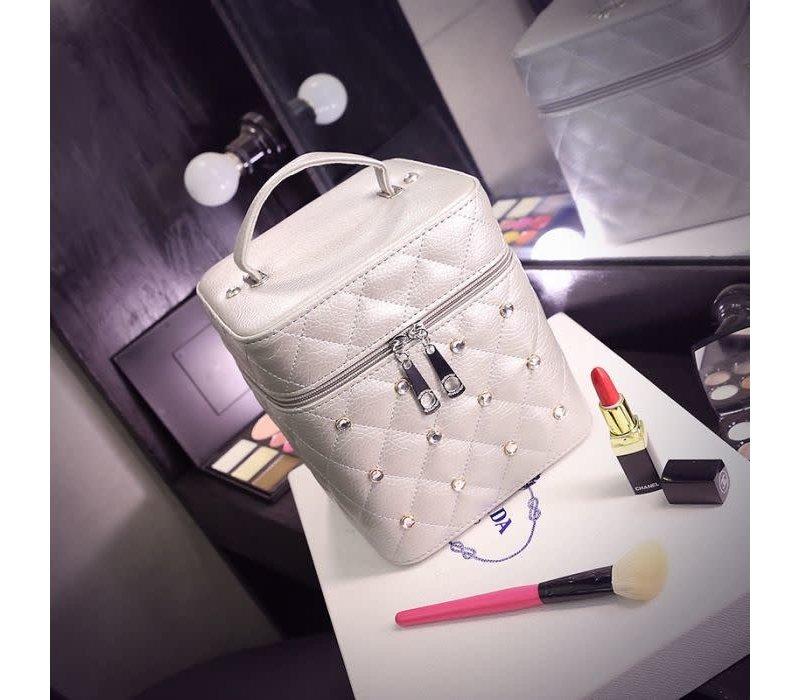 PUR033 White Vanity Case W/Gemstones