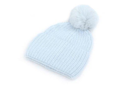 Peach Accessories SDN92 Cashmere mix Blue Pom Pom Hat