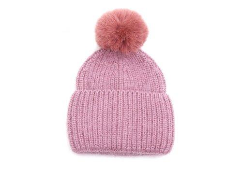 Peach Accessories SDN92 Cashmere mix Pink Pom Pom Hat