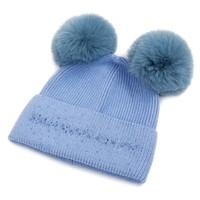 SDN90 Baby Blue Double Pom Pom Hat