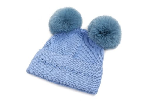 Peach Accessories SDN90 Baby Blue Double Pom Pom Hat