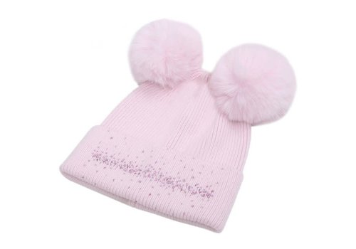 Peach Accessories SDN90 Baby Pink Double Pom Pom Hat