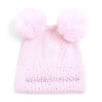 SDN90 Baby Pink Double Pom Pom Hat