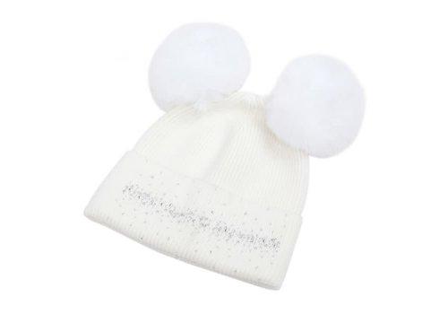 Peach Accessories SDN90 Cream Double Pom Pom Hat