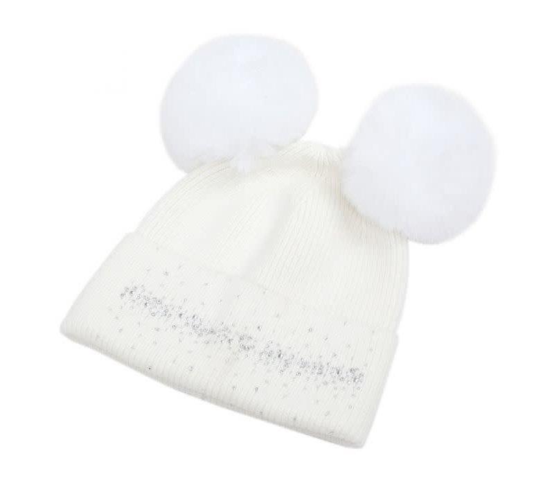 SDN90 Cream Double Pom Pom Hat