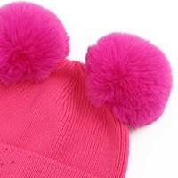 SDN90 Fuchsia Double Pom Pom Hat