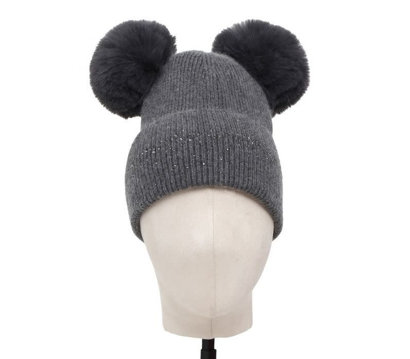 SDN90 Dark Grey Double Pom Pom Hat
