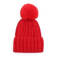 SDN86 Red Cable stitch Pom Pom Hat