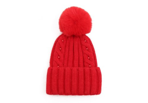 Peach Accessories SDN86 Red Cable stitch Pom Pom Hat