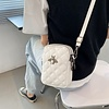 Peach Accessories 005 Winter White Quilted Crossbody w/Bee