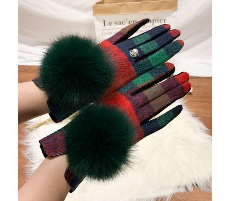 HA215 Red/Green Tartan Pompom Gloves