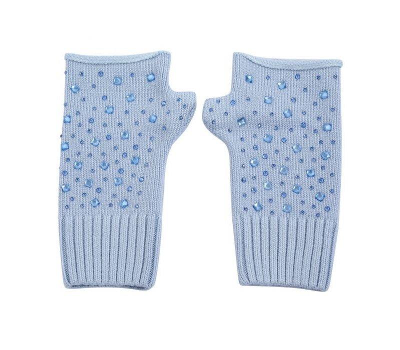 SDN111  Blue Fingerless Gloves with Diamonte