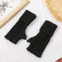 SDN101 Black Cable knit Fingerless Gloves