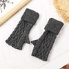 Peach Accessories SDN101 Grey Cable knit Fingerless Gloves