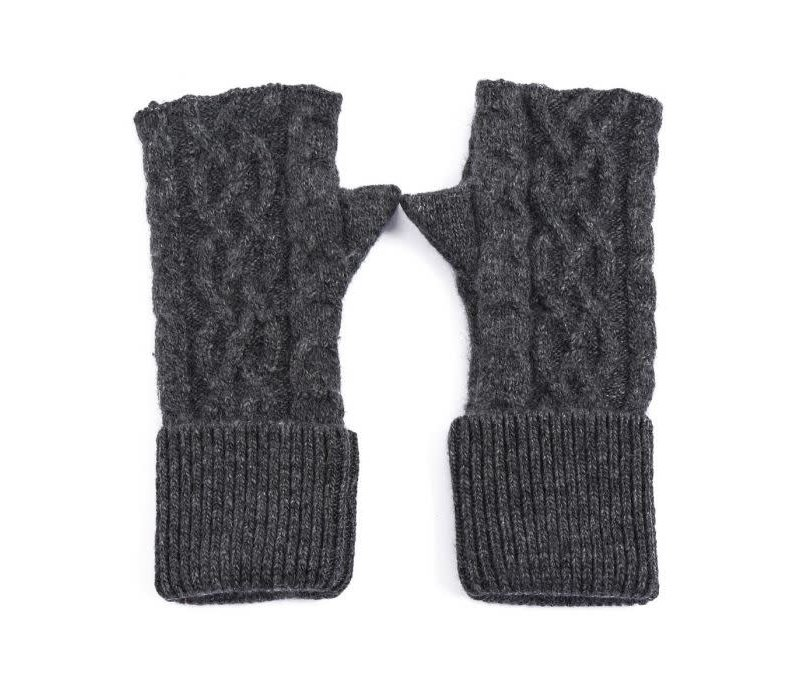 SDN101 Grey Cable knit Fingerless Gloves