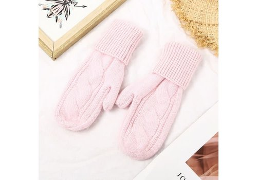 Peach Accessories SDN103 Pink Cable Knit Mittens