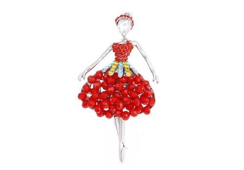 Peach Accessories 106 Ballerina Brooch in Red