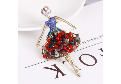 Peach Accessories 106 Ballerina Brooch in Red Multi