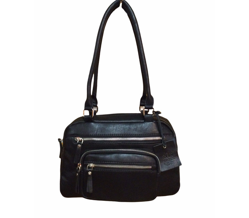 Rowallan 1216/01 Black Leather Shoulder Bag