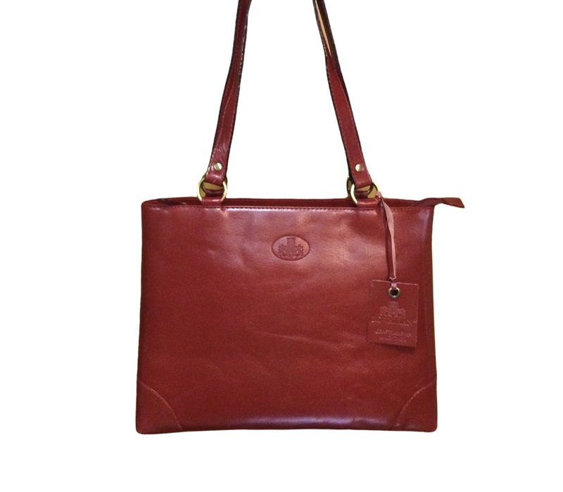 Rowallan 1736/12 Red Leather Twin Grip Bag