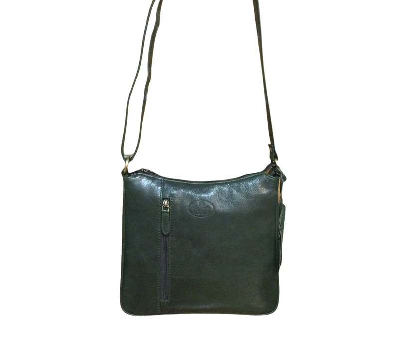 Rowallan 1977/13 Green  Leather X-Body Bag