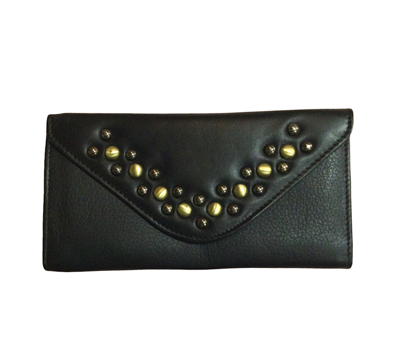 Rowallan 9487 Black Leather Trifold Purse