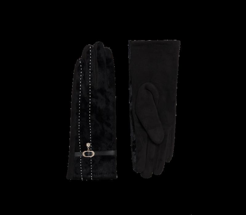 Pia Rossini FELIX Black velvet Gloves