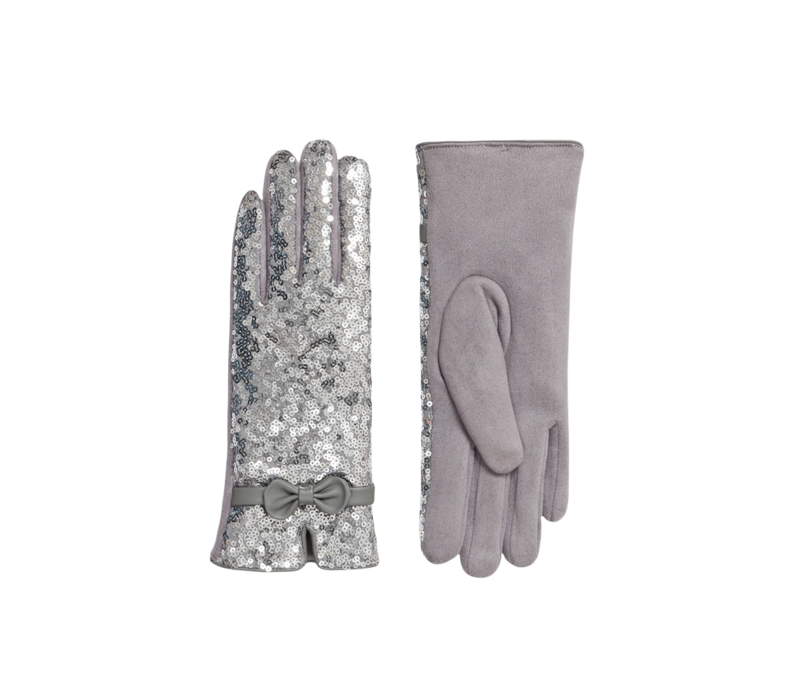 Pia Rossini RADIANCE Silver Glitter Gloves