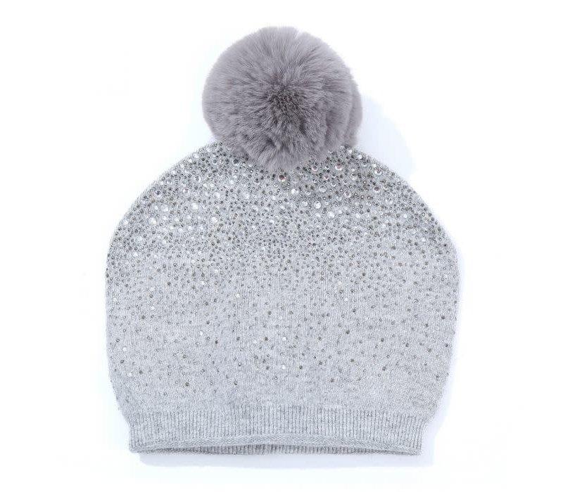 SD04 Grey Diamontè Pom Pom Hat