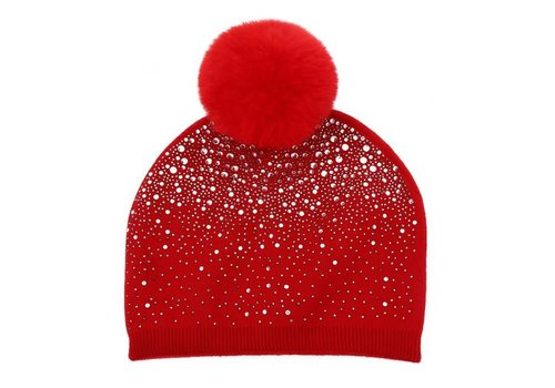 Peach Accessories SD04 Red Diamontè Pom Pom Hat