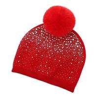 SD04 Red Diamontè Pom Pom Hat