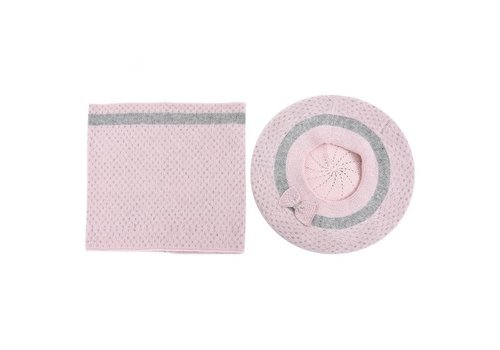 Peach Accessories SDN108 Cashmere mix Hat & Snood set pink