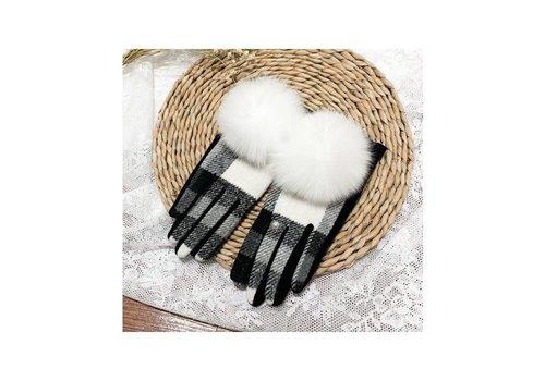 Peach Accessories HA215 Black/White Tartan Pom Pom Gloves