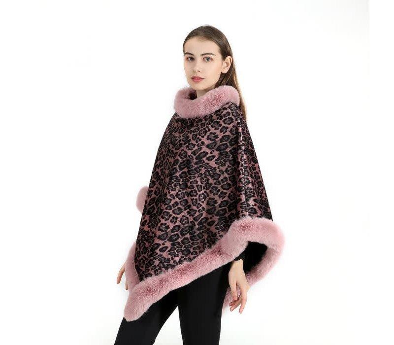 PE212 Pink Leopard print cosy Poncho