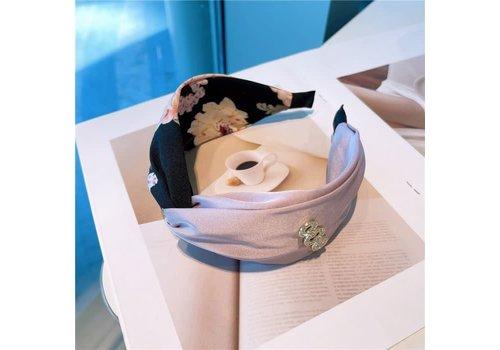 Peach Accessories HA729 Black Floral Hairband