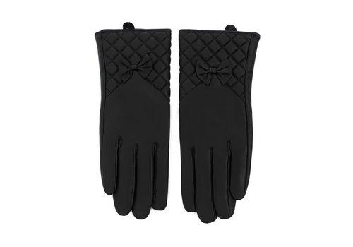 Peach Accessories HA207 Black Leather Gloves W/Bow