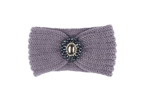 Peach Accessories HA727 Knitted Headband with Jewel in Grey