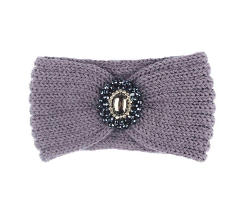 HA727 Knitted Headband with Jewel in Grey
