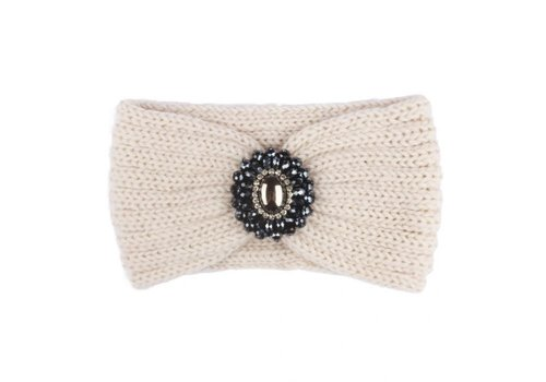 Peach Accessories HA727 Knitted Headband with Jewel in Cream