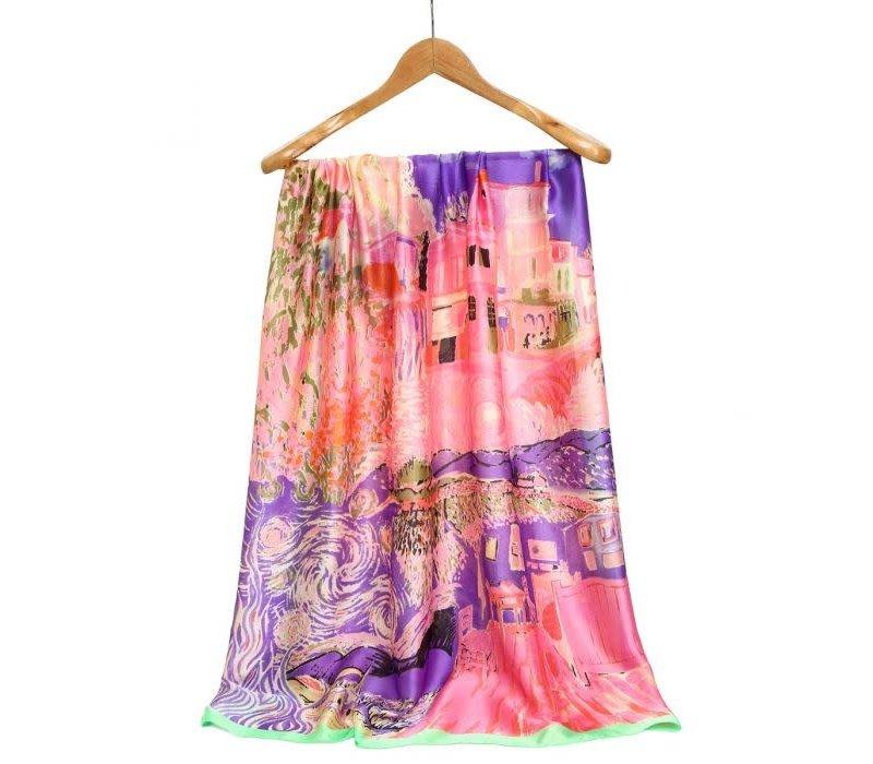 TT106 Colourful print silky Scarf