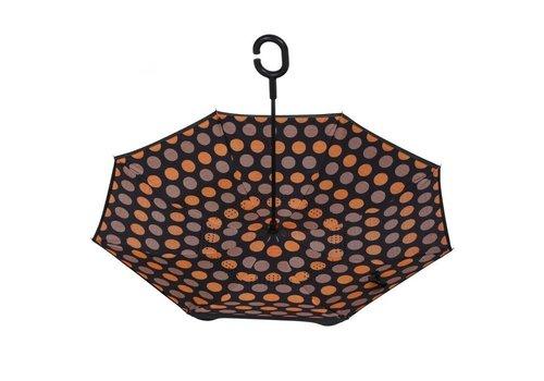 Peach Accessories F921-8 Orange Spotty Upside down Umbrella