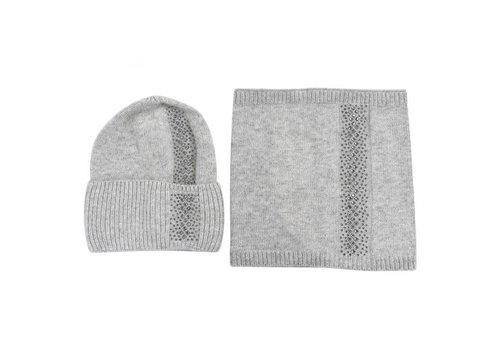 Peach Accessories SDN95 Hat & Snood Set in Grey